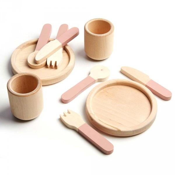 Flexa Kinder Geschirrset Holz rosa