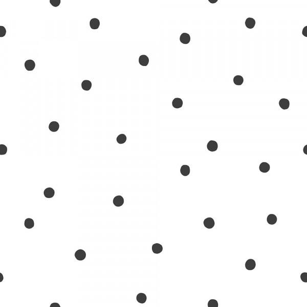 Lilipinso Vlies Tapete Tupfen schwarz auf weiss
