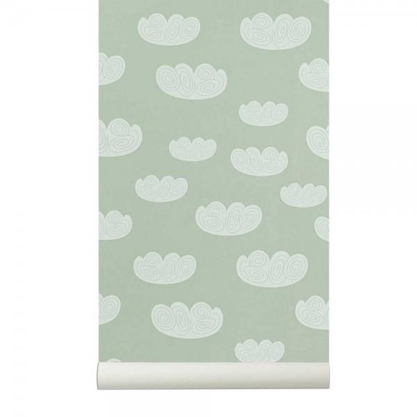 Ferm Living Tapete Wolken mint