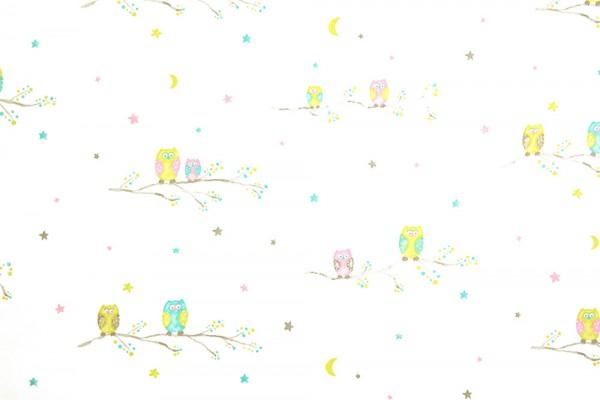 Casadeco Arc En Ciel Stoff Eulen türkis lime rosa grau