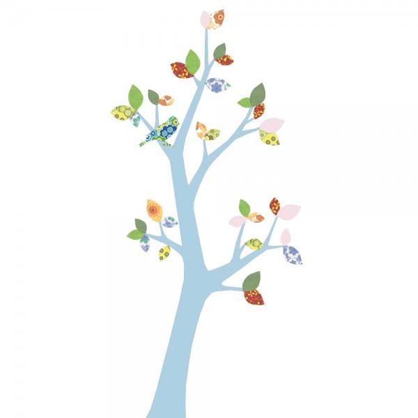 Inke Tapetenbaum 3 Stamm hellblau Blätter grün rosa rot