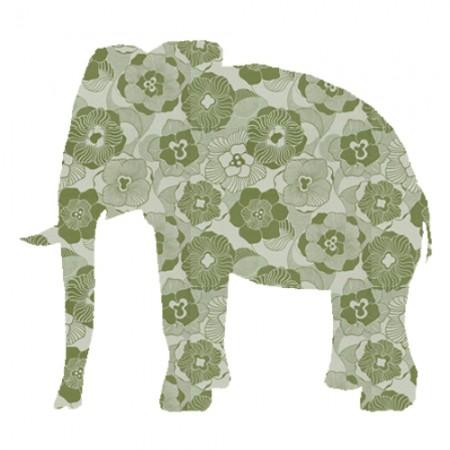 Inke Tapetentier Elefant Ranke oliv