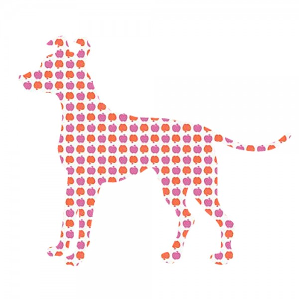 Inke Tapetentier Hund Apfelmuster lila orange