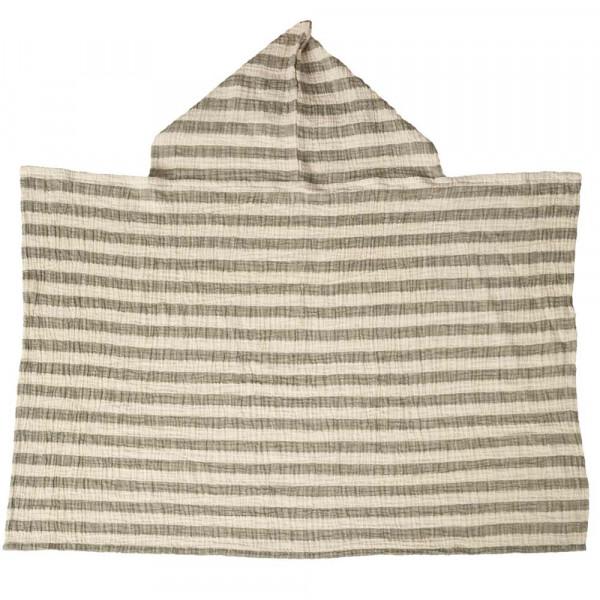 Quax Kapuzen Handtuch Musselin Streifen khaki