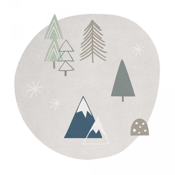 Lilipinso Teppich Bäume und Berg grau grün rund