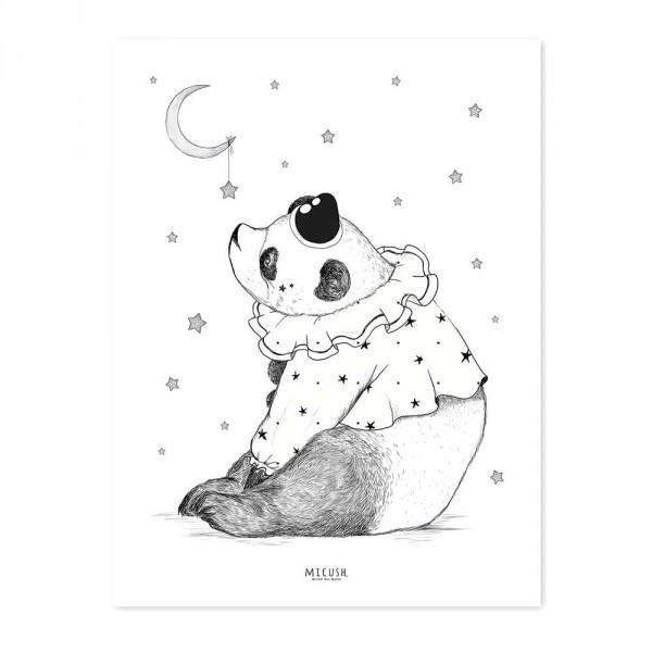 Lilipinso Poster Panda mit Mond schwarz rosa