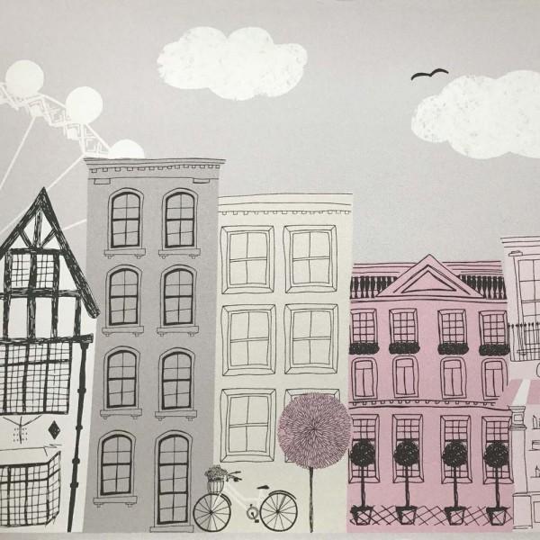 Casadeco Alice & Paul Bordüre Häuser grau rosa pink