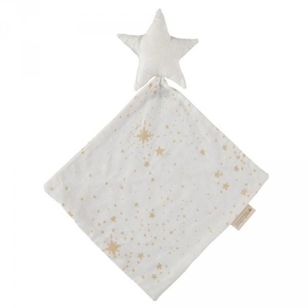 Nobodinoz Schnuffeltuch goldene Sterne weiß