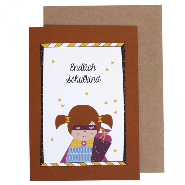 Ava & Yves Glückwunsch Karte zur Einschulung Mädchen