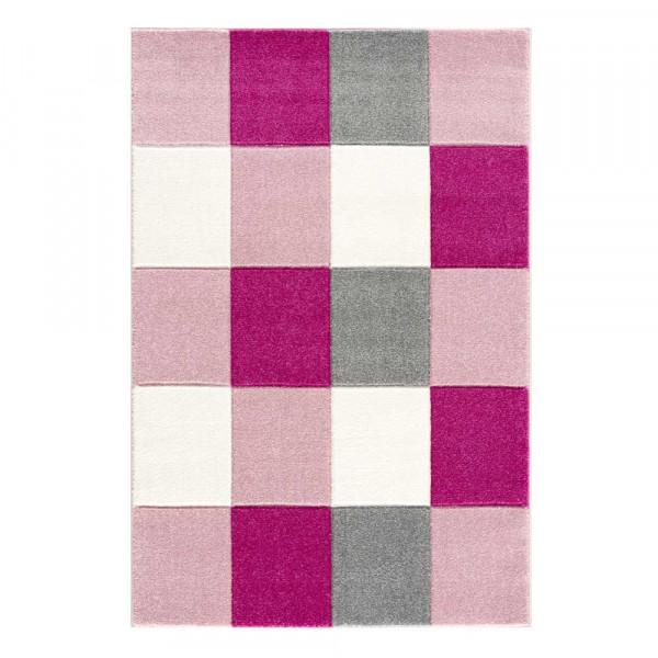 Livone Kinderteppich Patchwork rosa