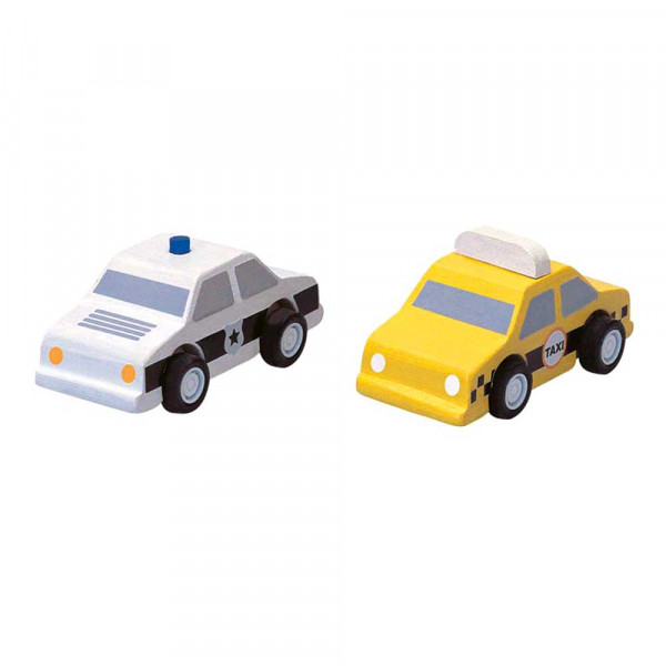 Plan Toys Spielzeugautos Taxi und Polizei Holz