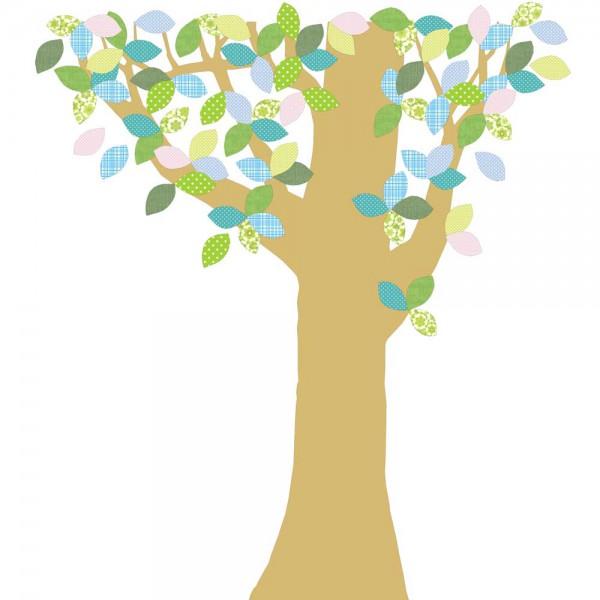 Inke Tapetenbaum 1 Stamm gold Blätter grün blau rosa