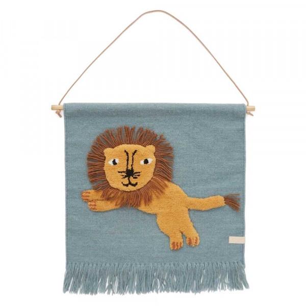OYOY Wandteppich Löwe blau