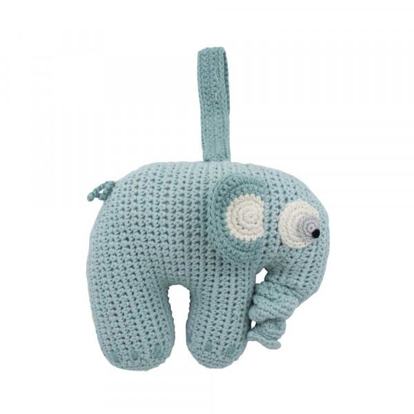 Sebra Häkel Spieluhr Elefant hellblau