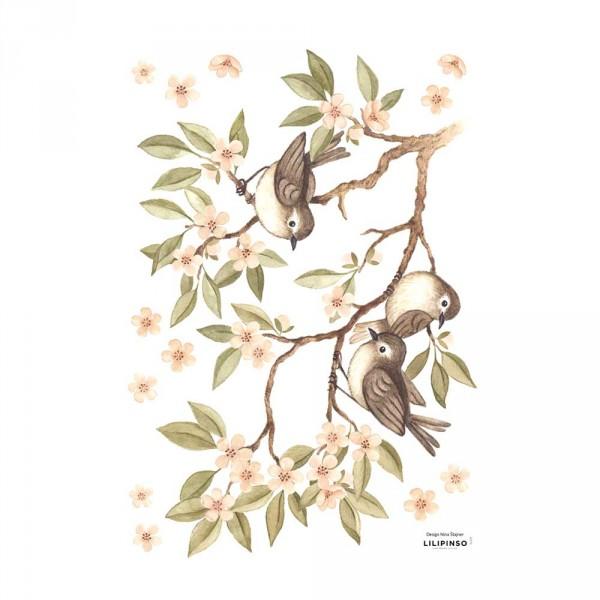 Lilipinso Wandsticker A3 Spatzen auf Ast grün rosa braun