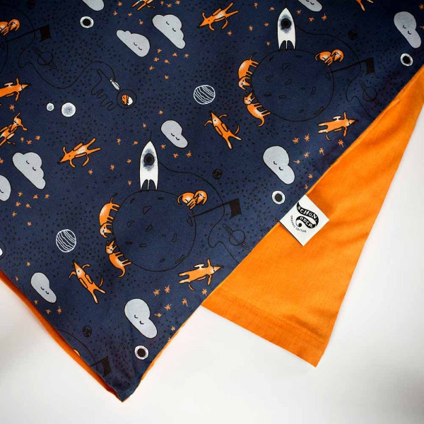 Schön, oder Kinder Bettwäsche Dackel im Weltall blau-orange 100 x 135