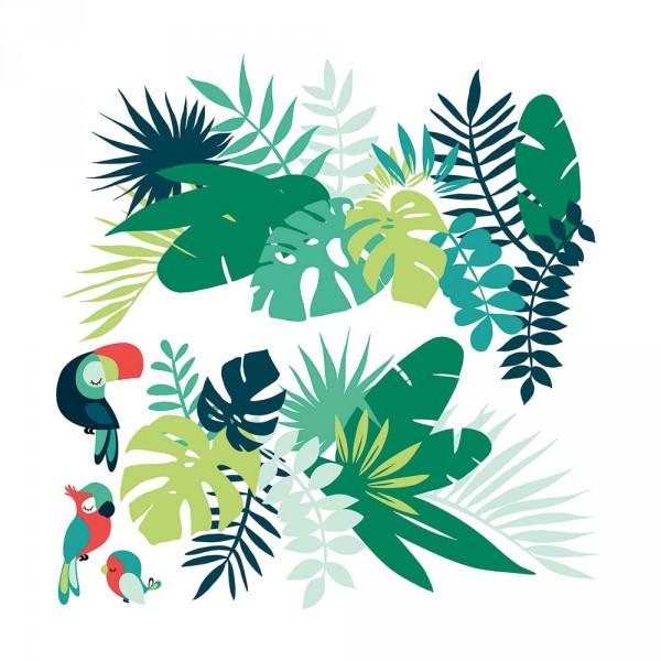 Lilipinso Wandsticker XL Dschungel mit Vögeln grün rot
