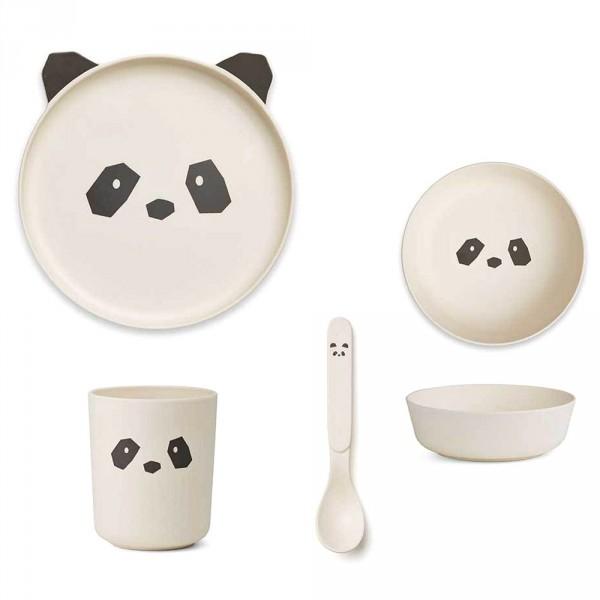 """Liewood """"Bamboo Box"""" Kindergeschirr Set Bambus Panda creme"""