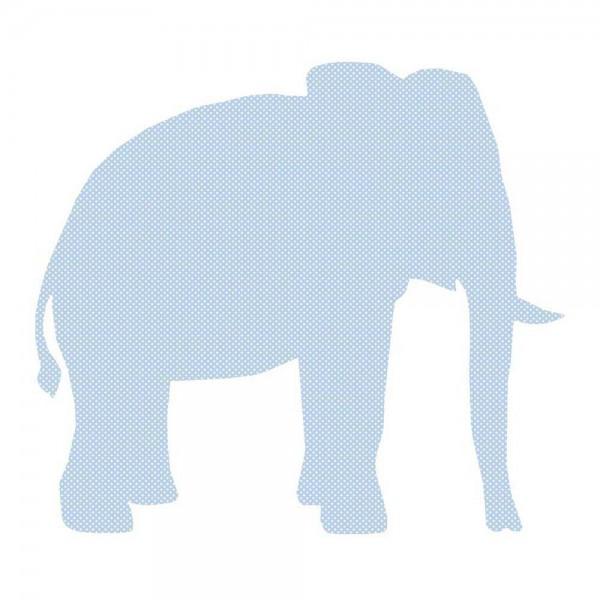 Inke Tapetentier Elefant hellblau Punkte weiss