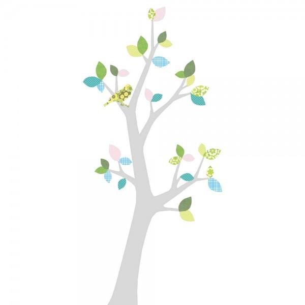 Inke Tapetenbaum 3 Stamm silber Blätter blau rosa grün