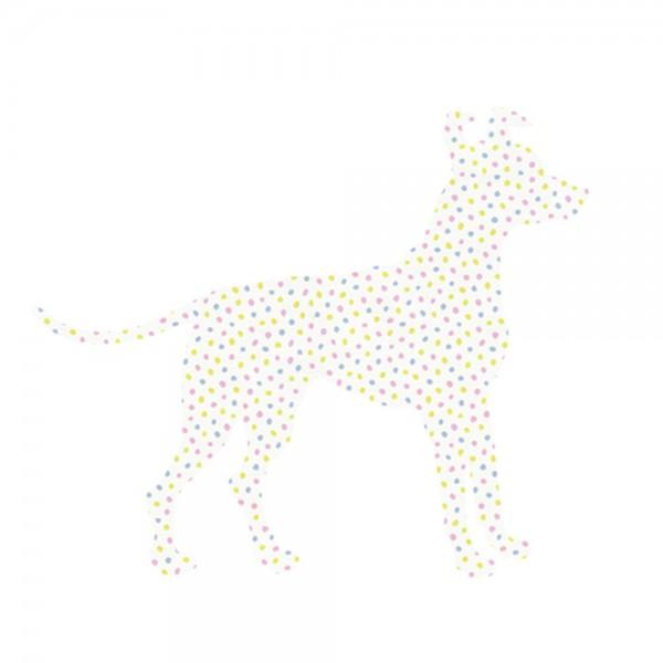 Inke Tapetentier Hund Tupfen rosa blau lime