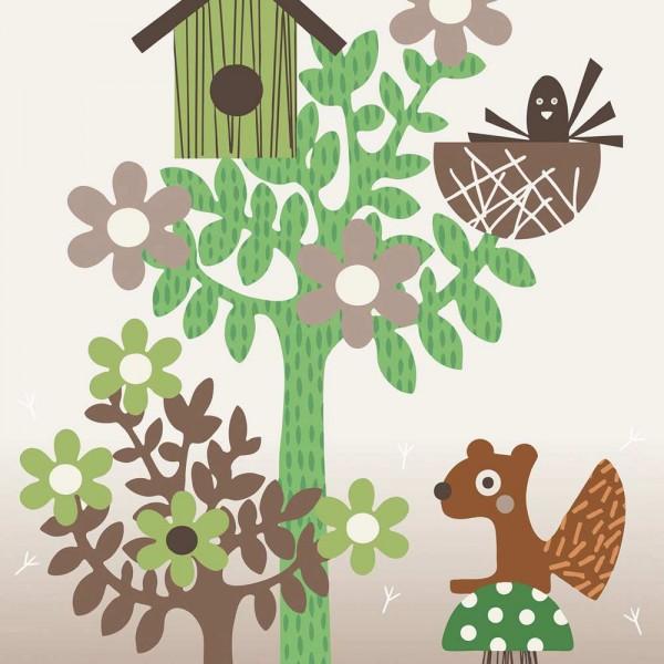 Eijffinger Tout Petit Tapeten Wandbild Waldtiere grün braun