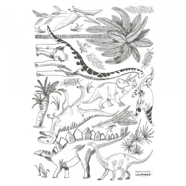 Lilipinso Wandsticker A3 Dinogetümmel mit Palmen grau