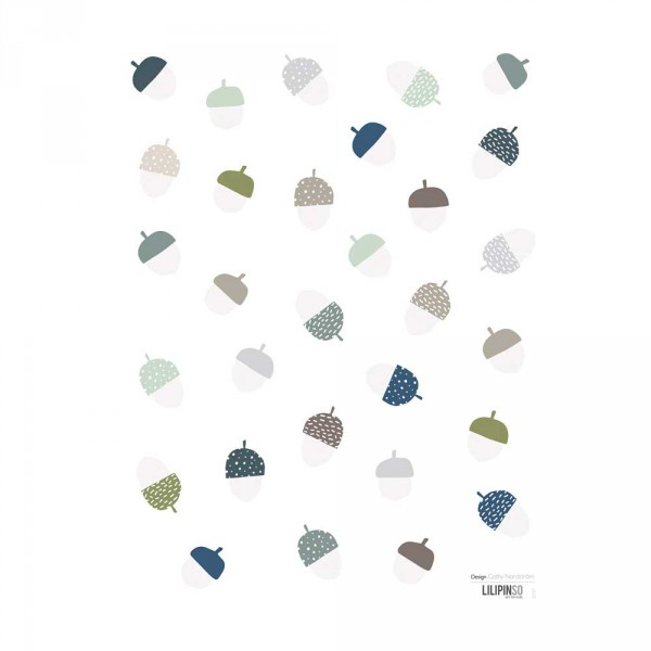 Lilipinso Wandsticker Eicheln grau grün pastell