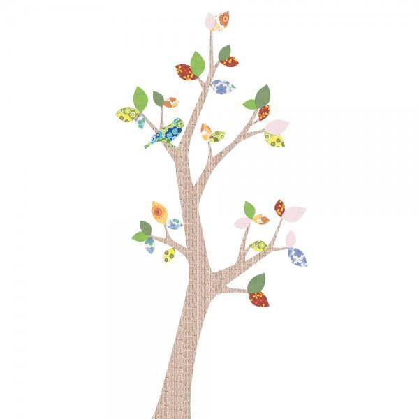 Inke Tapetenbaum 3 Stamm braun Blätter grün rosa rot