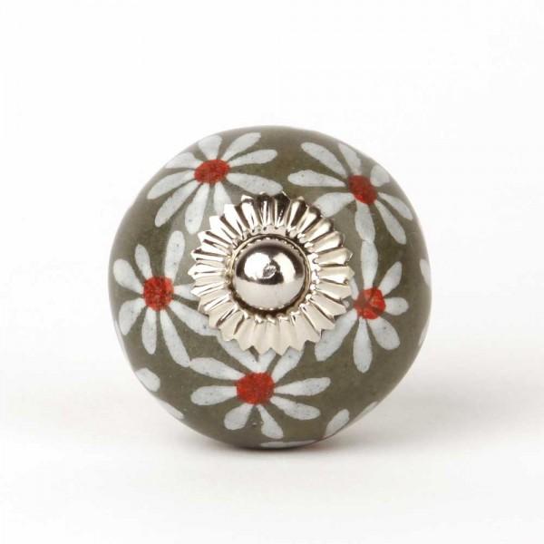 Knaufmanufaktur Möbelknopf grau Blumen groß