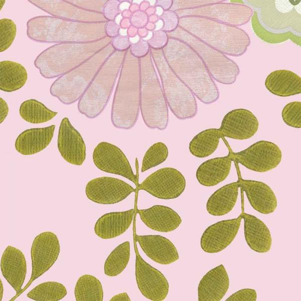 Inke Tapeten Wandbild Vintage Blätter rosa