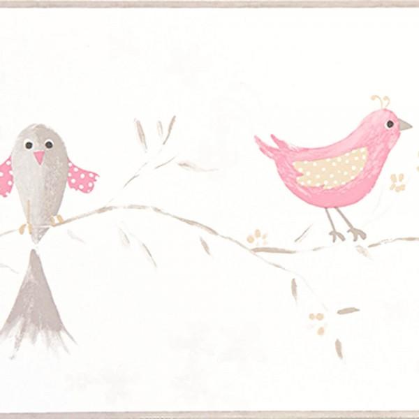 Casadeco Douce Nuit Bordüre romantische Vögel rosa grau