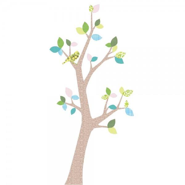 Inke Tapetenbaum 2 Stamm braun Blätter blau rosa grün