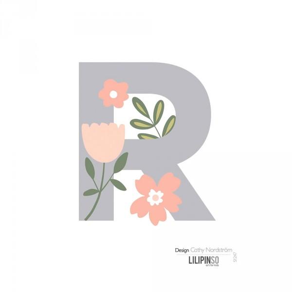 Lilipinso Sticker Buchstabe mit Blüten grau rosa pastell R