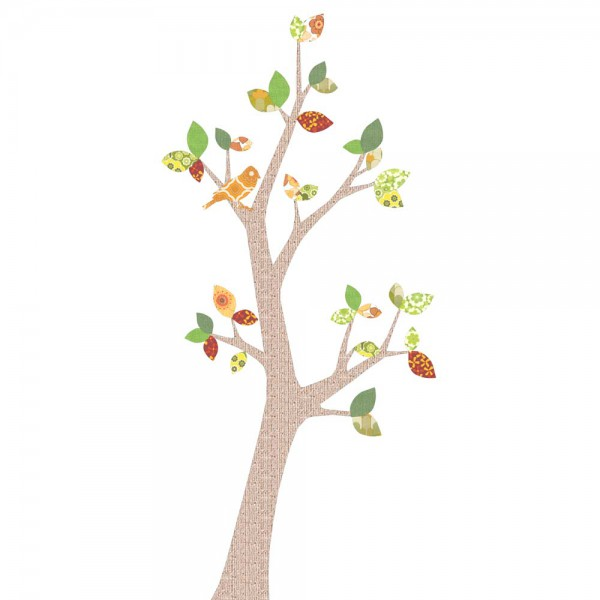 Inke Tapetenbaum 2 Stamm braun Blätter grün rot