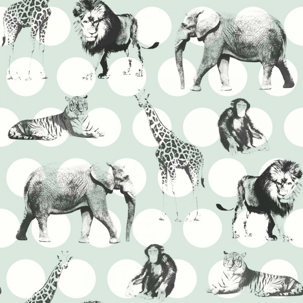 Rasch Textil Everybody Bonjour Tapete Safari mint