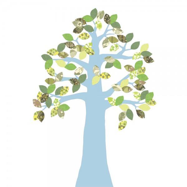 Inke Tapetenbaum 2 Stamm hellblau Blätter grün