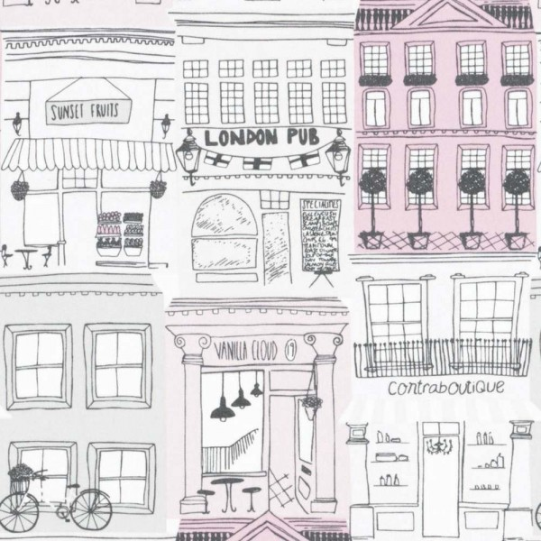 Casadeco Alice & Paul Stoff Häuser pink grau rosa