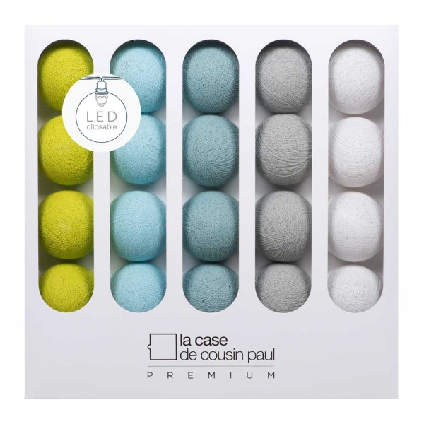 Cousin Paul Lichterkette Otis Premium LED grün himmelblau grau weiss
