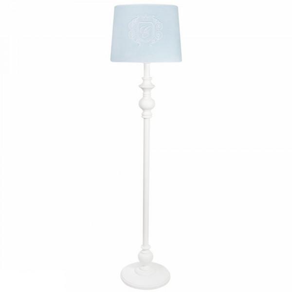 Caramella Stehlampe gedrechseltes Bein Emblem Velour blau