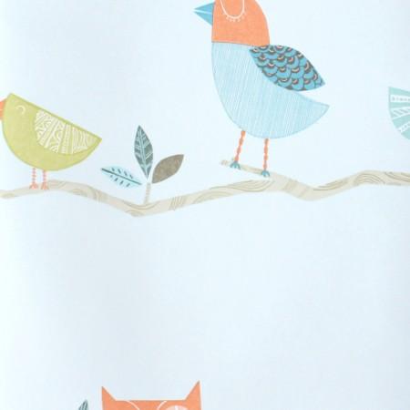 Harlequin Tapete Vögel aqua