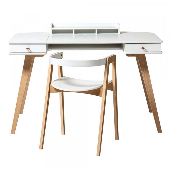 Oliver Furniture Wood Schreibtisch 66 cm inkl. Armlehnstuhl 66 Holz weiss/Eiche