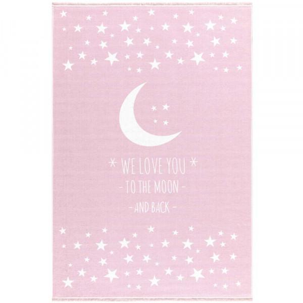 Livone Kinderteppich waschbar Mond & Sterne rosa