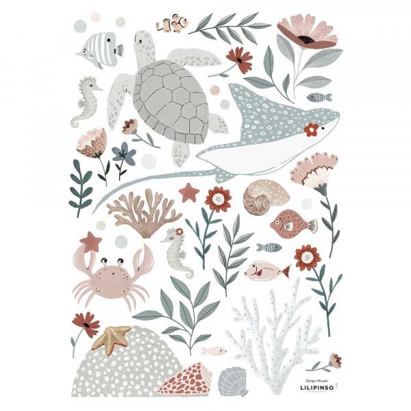 Lilipinso Wandsticker A3 Unterwassertiere graublau rosa