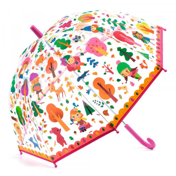 Djeco Kinder Regenschirm Mädchen im Wald pink
