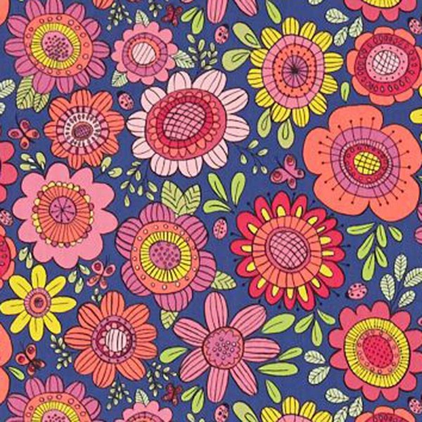 Scion Guess Who Stoff Blumen blau rot pink