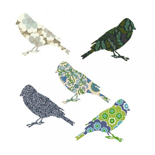 Inke Tapetenvögel blau