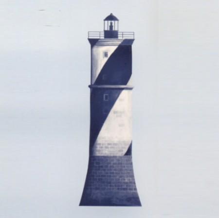 Casadeco Wandbild Leuchtturm blau