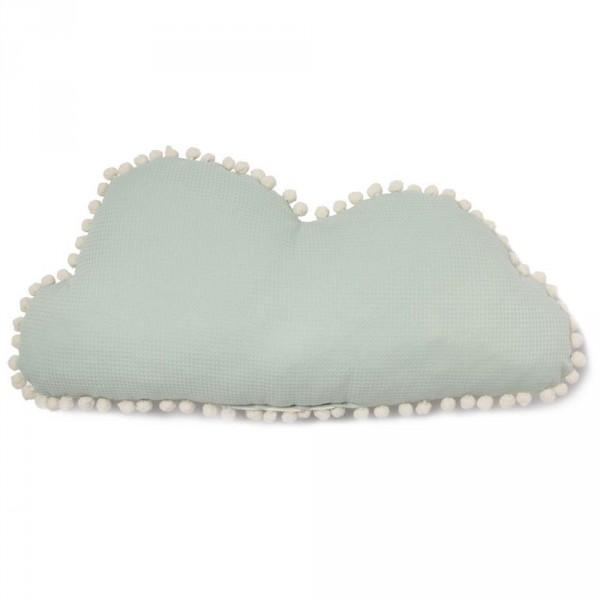"Nobodinoz Kissen Wolke ""Marshmallow"" mit Pom Poms aqua"