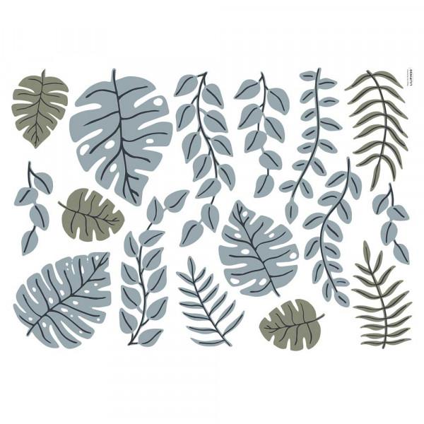 Lilipinso Wandsticker L Tanzanische Blätter blau oliv